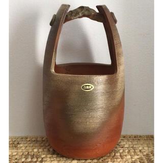 [新品未使用] 信楽焼 紫水作 手桶 花瓶(花瓶)