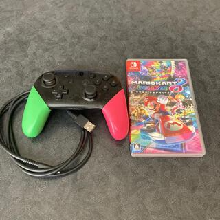 ニンテンドースイッチ(Nintendo Switch)のマリオカート8デラックス+スプラトゥーン柄コントローラー(家庭用ゲームソフト)