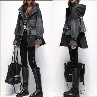 ~3L4L デニム風ウエスト絞りパーカージャケット黒(その他)