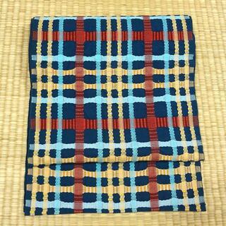 紺色に格子の織り 名古屋帯(帯)