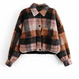 ザラ(ZARA)のチェック柄 ショート丈 シャツ ジャケット コート     1220(ニットコート)