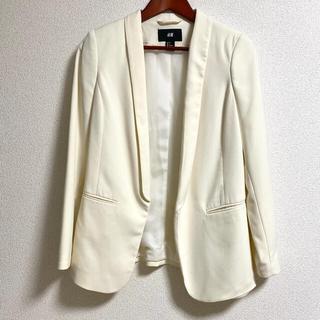 エイチアンドエム(H&M)のH&M ホワイトジャケット(ノーカラージャケット)