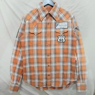 ティーエムティー(TMT)のTMT ネルシャツ ウエスタンシャツ チェック ワッペン 古着 オレンジ(シャツ)