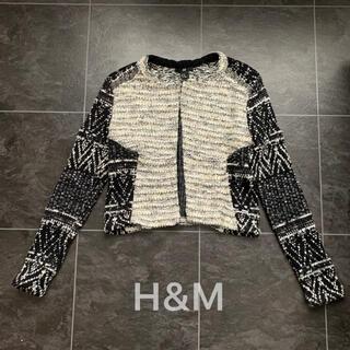 エイチアンドエム(H&M)のH&M♡ニットジャケット♡ビーズ(ノーカラージャケット)