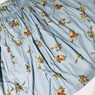 ピンクハウス(PINK HOUSE)のピンクハウス❤️花束の柄の水色のティアードロングスカート裾幅約4m⭐︎(ロングスカート)