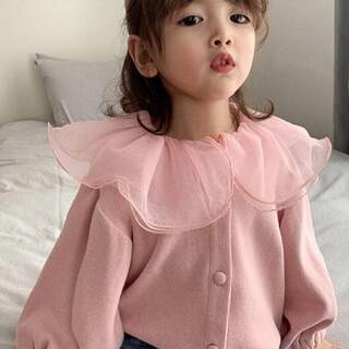 ブランシェス(Branshes)のフリル女の子襟カーディガン 韓国子供服 3カラー(カーディガン)