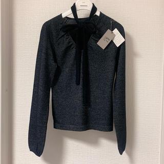 カールラガーフェルド(Karl Lagerfeld)のカールラガーフェルド❤️新品❤️カシミアボウ付きVネックニットブラック38(ニット/セーター)