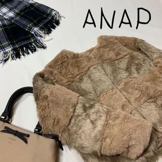 アナップ(ANAP)のANAP アナップ 毛皮風 ボーダーブルゾンジャケット フリーサイズ ベージュ(ブルゾン)