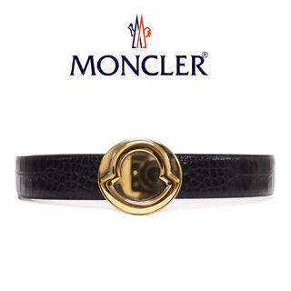 モンクレール(MONCLER)の2 MONCLER ブラック クロコ型押し レザー ベルト 75(ベルト)