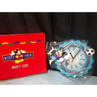 ディズニー(Disney)の未使用品 ディズニー 掛け時計 ミッキー マウス サッカー ブルー(掛時計/柱時計)