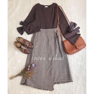 ダブルクローゼット(w closet)のコーデセット ✽ リボンスリーブトップス+チェック柄ラップスカート ✽(セット/コーデ)