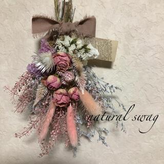 ♡専用No.249 pink*white ドライフラワースワッグ♡(ドライフラワー)