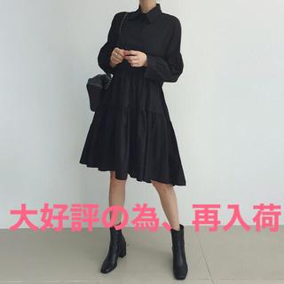 【実物】新品 ティアード シャツ ワンピース ドレス ミディ丈 膝丈(ひざ丈ワンピース)