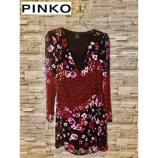 ピンコ(PINKO)の【美品】PINKO 花柄 ドレス ワンピース 黒 ピンク 赤 イタリア製(ミディアムドレス)