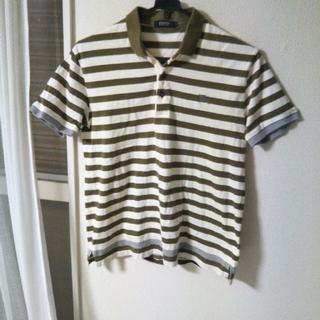 バーバリーブラックレーベル(BURBERRY BLACK LABEL)のバーバリーブラックレーベル半袖ポロシャツ グリーン×ホワイト ボーダー(ポロシャツ)