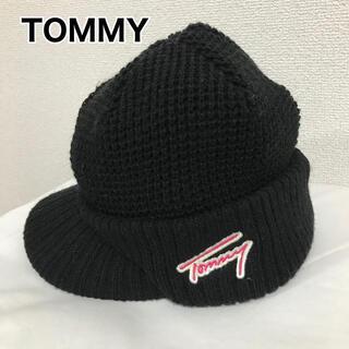 トミー(TOMMY)のTOMMY トミー ニット帽 キャップ ビーニー つば付 黒 ブラック(ニット帽/ビーニー)