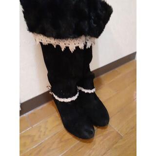 アクシーズファム(axes femme)の☆アクシーズファム 編上げフリルレース付ロングブーツ黒 L美品☆(ブーツ)