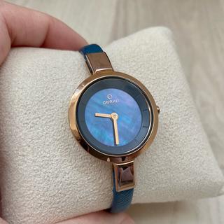 アガット(agete)の美品 北欧 OBAKU 腕時計 レディース オバック ブルー 海外 革 オパール(腕時計)