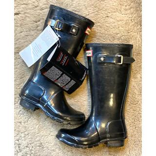 ハンター(HUNTER)のハンターHUNTER レインブーツキッズナショナル 黒 新品 UK13 長靴(長靴/レインシューズ)