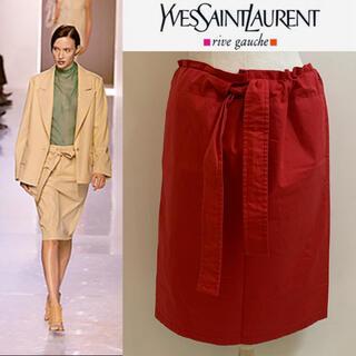 サンローラン(Saint Laurent)のYVES SAINT LAURENT エルバス期 ウエストロープデザインスカート(ひざ丈スカート)