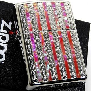 ジッポー(ZIPPO)の送料無料☆zippo☆ピンクシェルストライプ☆シルバー☆ジッポ(タバコグッズ)
