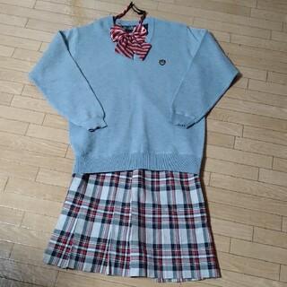 イーストボーイ(EASTBOY)の制服セット  グレーセーター チェックプリーツスカート リボン 3点セット(セット/コーデ)