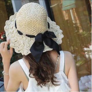 アメリヴィンテージ(Ameri VINTAGE)のBibiy. flower straw hat アイボリー(麦わら帽子/ストローハット)