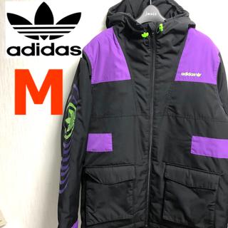 adidasoriginalsダウンジャケット刺繍トレフォイル黒紫蛍光緑ブラック(ダウンジャケット)