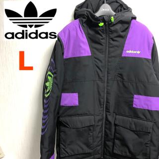 adidas originalsダウンジャケットトレフォイル黒紫蛍光緑ブラック(ダウンジャケット)