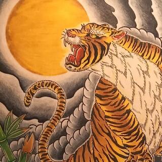 「月下猛虎」A4サイズ 刺青 タトゥーフラッシュ(ミラー)