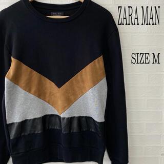 ザラ(ZARA)のZARA MAN ザラ フェイクレザー切替 スウェット M(スウェット)