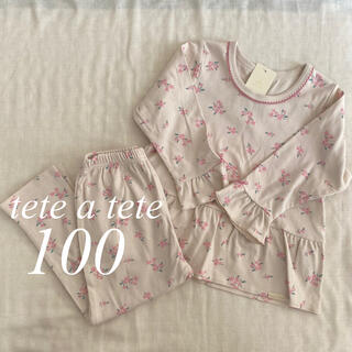 petit main - 【未使用・タグ付き】テータテート 花柄 パジャマ 100 プティマイン