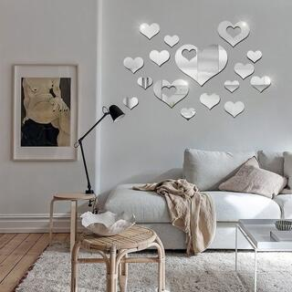 ミラーシール 鏡 ウォールステッカー 壁紙 おしゃれ DIY 無数のハート 銀色(壁掛けミラー)