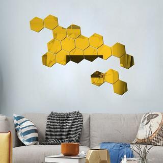 ミラーシール 鏡 ウォールステッカー 壁紙 おしゃれ DIY 六角形12枚 金色(壁掛けミラー)