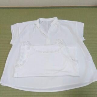 グローブ(grove)の未使用 ブラウス インナー付き 白色(シャツ/ブラウス(半袖/袖なし))