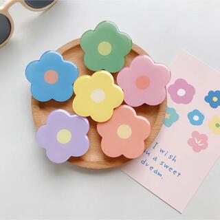 iPhone 韓国 スマホリング お花 ポップソケット パステルカラー(その他)
