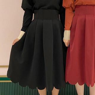 メゾンドフルール(Maison de FLEUR)のしゃんと歩けるボリュームスカート ブラック(ロングスカート)