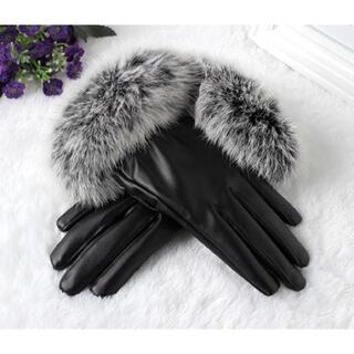 ザラ(ZARA)のファーレザーグローブ(ブラック)(手袋)