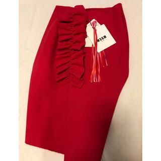 エムエスジイエム(MSGM)のMSGM 完売 ¥55000 タグ付 未使用 フリル タイト スカート (ひざ丈スカート)