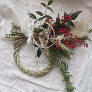 南天とベルガムナッツの しめ縄 お正月飾り ドライフラワー  38cm(ドライフラワー)