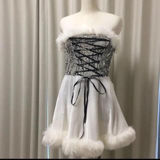 サンタ コス クリスマス キャバ ホワイト シルバー スパンコール シルバー(衣装一式)