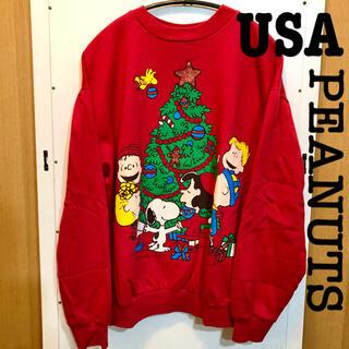 ピーナッツ(PEANUTS)の希少!! USA製 90s スヌーピー ヴィンテージスウェット クリスマス(スウェット)