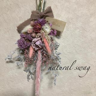 ☆No.252 pink*white ドライフラワースワッグ♡(ドライフラワー)