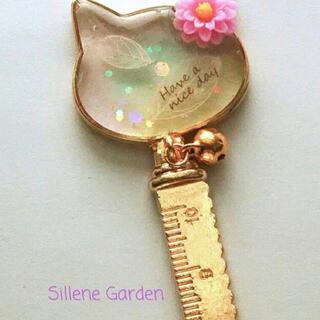 【Sillene Garden】 No.11 ホワイトリーフねこちゃんの定規(その他)