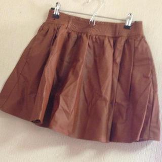 ローリーズファーム(LOWRYS FARM)のブラウン レザースカート(ミニスカート)