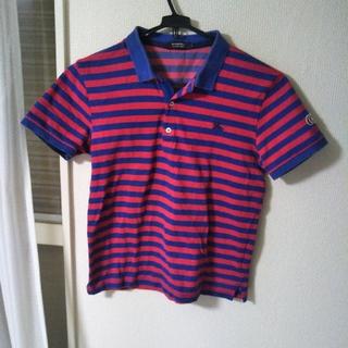 バーバリーブラックレーベル(BURBERRY BLACK LABEL)のバーバリーブラックレーベル半袖ポロシャツ ブルー×赤 ボーダー(ポロシャツ)