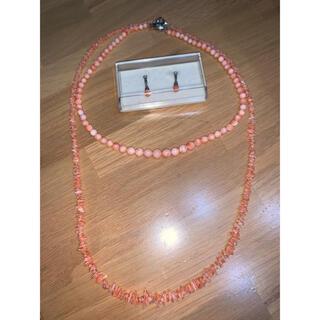珊瑚 3点セット 新品未使用 ネックレス イヤリング セレモニー(ネックレス)