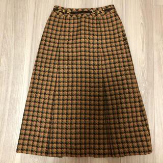 セリーヌ(celine)の【専用】オールドセリーヌ チェックのボックスプリーツスカート(ひざ丈スカート)