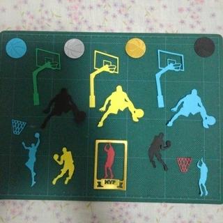 ペーパークラフト バスケットボールクラフトパンチ 色紙 バスケ 寄せ書き(カード/レター/ラッピング)