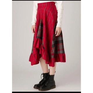 ジュエティ(jouetie)のjouetie チェック 赤 フリルスカート*(ひざ丈スカート)